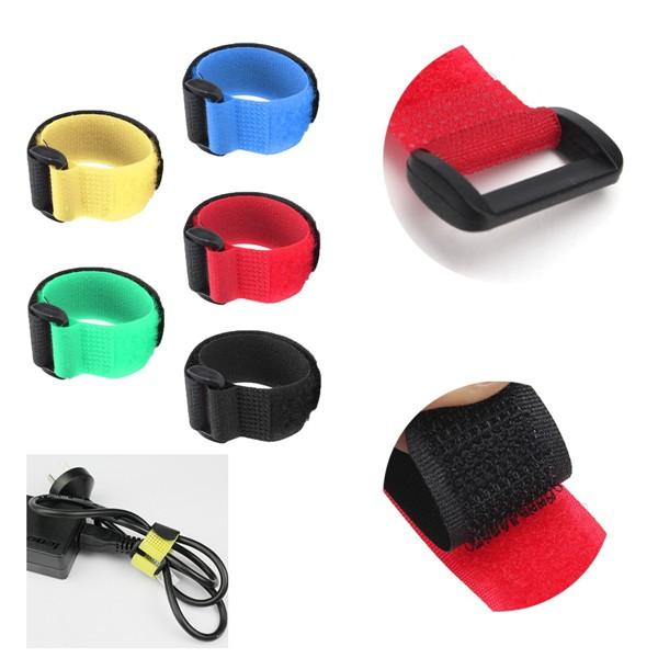 1 Pezzo Battery Hook Loop Velcro Reusable Cable Tie Down Straps (20cm) Multicolor